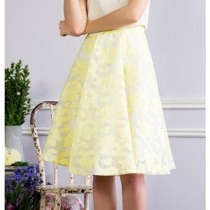 Francesca's Yellow Floral Aline Flare Skirt